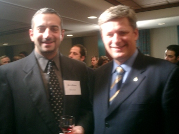 The author with Stephen Harper